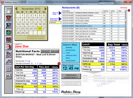 diabetes diary nutritional personal management software