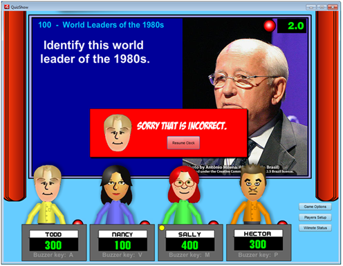 Screen shot of QuizShow showing an image question